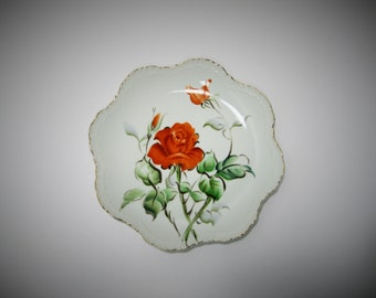 Lefton Hand Painted Numbered Plate - Rose Floral Pattern