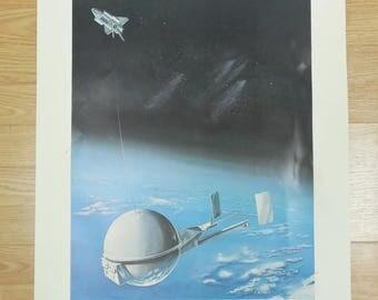 Clearance - Vtg Martin Marietta Tethered Satellite System Poster NSAS Spacelab by C Bennett