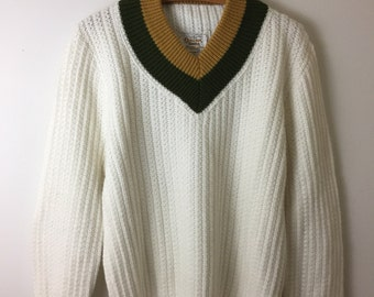 Vintage Classic V Neck Pullover Chunky Knit Sweater Tennis Sweater Preppy Orlon Campus Size Large