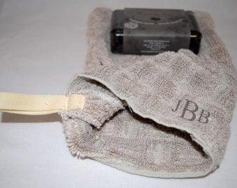 Washcloth Set, Bamboo Mitt & Organic Charcoal Soap , Travel Set, Mitt Washcloth with Thumb Hole - Personalized/Monogrammed