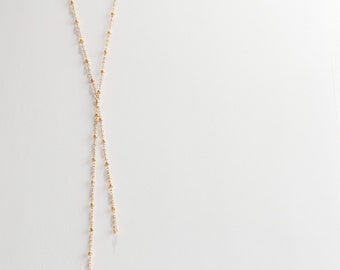 Satellite Y Necklace, Lariat, Gold Filled, Sterling Silver