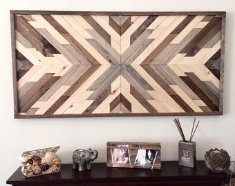 Reclaimed wood wall art, wood art, wall decor, wood decor, rustic wood decor, farmhouse decor, aztec decor