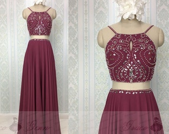 2 Piece Prom Dresses 2017,Burgundy Prom Dresses,Sexy Birthday Evening Gown,Custom Party Dresses,Two Piece Prom Dresses,Beaded Prom Dress