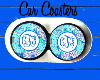 Personalized Car Coaster, Lilly Pulitzer Inspired, Cup Holder Coasters,Monogrammed car coaster, Gift, Party Gift