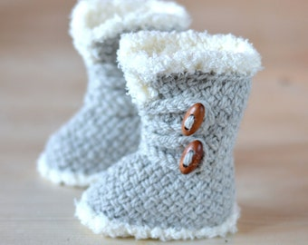 KNITTING PATTERN Baby Booties Basket Stitch Baby Boots 3 Sizes Ugg Style Baby Booties Pattern Digital File Instant Download Digital File