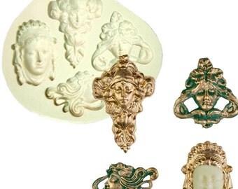 Goddess Vintage Inspired Face Women Mythology Mold Faces Formas De Silicone Mold Fondant Cake Molds Cupcake Mould Chocolate