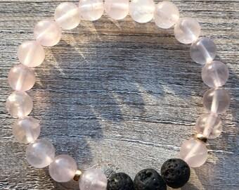 Rose quartz + Lava beads essential oil diffuser bracelet