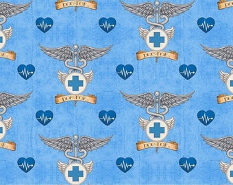Doctor Pin on Blue,  Just What the Doctor Ordered by Quilting Treasures