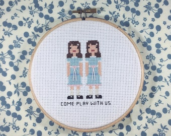 "The Grady Twins ""The Shining"" Completed Cross Stitch in 5"" Hoop"