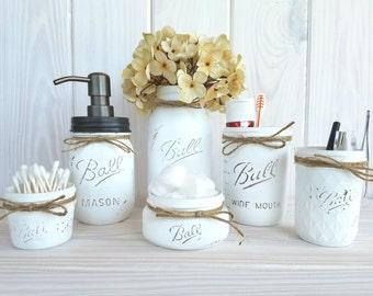 6 pc mason jar bathroom set. White bathroom set.