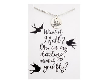 What if i fall oh but my darling what if you fly necklace - with brave wings she flies - inspirational necklace - sterling silver sparrow
