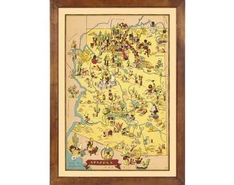 Arizona Pictorial Map 1935; 24x36 Print from a Vintage Lithograph