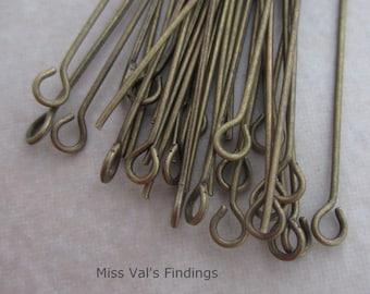 100 antique brass 2 inch eyepins 21 gauge