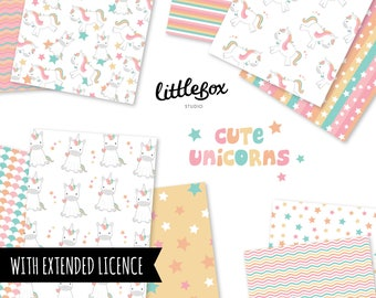 Cute Unicorns - Digital Paper - Instant Download - Extended Licence