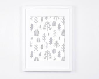 Grey and White Nursery Wall Art, Scandinavian Nursery Decor, Woodland Design, Trees Art, Grey Baby Room Art Printable, Nordic Art