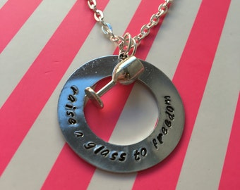 Raise A Glass To Freedom Hamilton Necklace