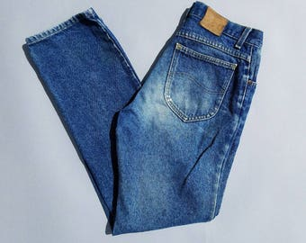 80s LEE Jeans 32, High Waisted Mom Jeans, Faded Denim Pants Workwear 32x32