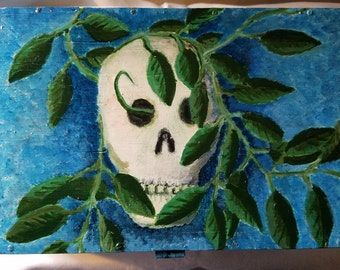 Hand painted box stash box with skull and vine