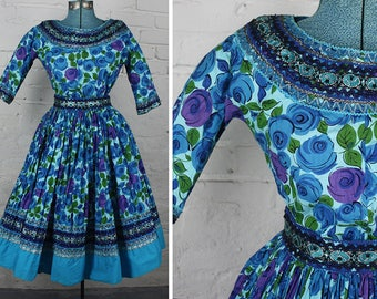 Turquoise & Purple Floral Print Vintage 60s Full Skirt and Top Western Dress Set XS