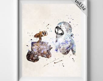 Wall-E Art, Eve Print, Wall-E Poster, Wall-E Watercolor, Disney Poster, Wedding Gift, Dorm Room Art, Giclee, Baby Room Decor, July 4th