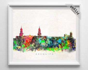 Arequipa Skyline Print, Peru Print, Arequipa Poster, Watercolor Art, Wall Decor, City Art, Giclee, Living Room Decor, Dorm Decor