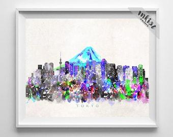 Tokyo Skyline Print, Japan Print, Tokyo Poster, Watercolor Art, Wall Decor, City Skyline, Giclee Art, Living Room Decor, Christmas Gift