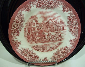 RESERVED Red Cranberry Transferware Rural Scene with Stage Coach,Royal Stafford,Fine Earthware,Made in England
