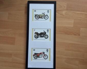 Classic motor bikes stamp wall art framed Royal Enfield BSA Rocket 3 Norton F.1