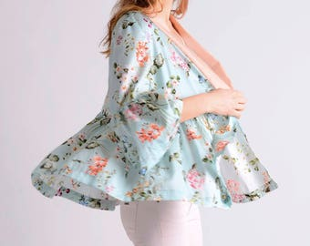 Japanese inspired kimono ruffle blazer in pastel colors LIMITED EDITION