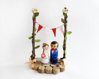 Cake toppers wedding Liberty / Liberty Peg doll wedding / wedding figurine liberty and wood / wedding figurine - Todo customize