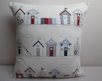 Fryetts Beach Huts Nautical Seaside Cushion Cover Pillow Cover 16""
