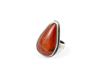 Red Jasper Ring, Size 8 Ring, Red Stone Ring, Statement Ring, Christmas Gift, Boho Ring, Gemstone Jewelry, Crimson Ring, Bohemian Jewelry