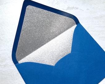 Royal Blue A7 5x7 Gold or Silver Glitter Lined Envelopes - Royal Blue Paper Source Envelopes