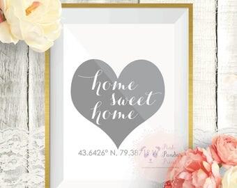 Home sweet home, wall art, home decor, farmhouse decor, latitude, longitude, decor, housewarming, gift
