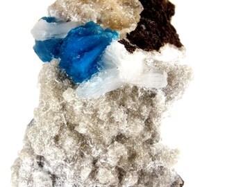 Cavansite Crystals On Stilbite Wagholi, Pune, Maharashtra, India (EA7389) crystal mineral reiki healing  gem stone vintage collect