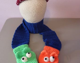 "Childrens Puppet Mitten Scarf - 56"" long - fun bright color puppet mittens attached to Royal blue soft and stretchy scarf"