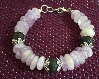 SALE Amethyst and Lava Stone chunky beaded bracelet. 7 inch PURPLE
