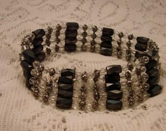Vintage Black Beaded Magnetic Bracelet or Necklace