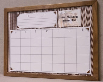 brown herringbone monthly dry erase calendar framed white board organizer custom family command center - Dry Erase Calendar