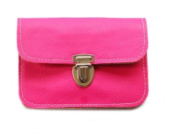 Wallet leather & felt, PINK