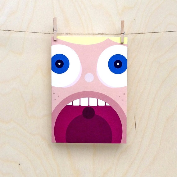 funny excited face card, cute excited face card, child's face card, kids face card, kids birthday card