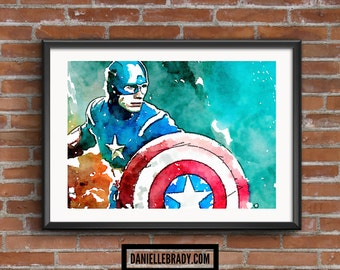 Captain America Digital Art Watercolour Printable Art Downloadable Print