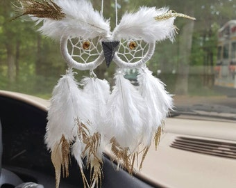 Mini Owl // Rear-View Mirror Owl // MADE TO ORDER
