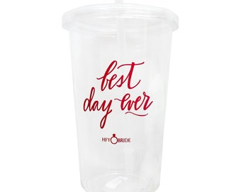 Best Day Ever Hand Lettering Fuscia Pink Tumbler Water bottle - Bridesmaid Gift, Wedding day glass, welcome gift, bachelorette glass