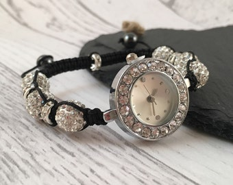 Macramé Watch, Beaded Watch, Crystal Watch, Ladies Watch, Stainless Steel Watch, Macramé Jewellery, Gift for Her, Watches for Women,