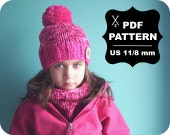 English-French Two Needle KNITTING PATTERN / Digital Download / #2 / Knitted Winter Hat & Cowl / 6-16M to 5-Adult / US11 / 8mm