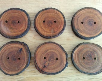 6 Handmade Large Dark Wooden Buttons 45mm With Bark Tree Branch Buttons Sewing Knitting Craft UK Seller