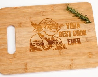Star Wars Yoda Best Cook Ever Engraved Cutting Board Foodie Funny Silly Witty Chef Cooking Gift