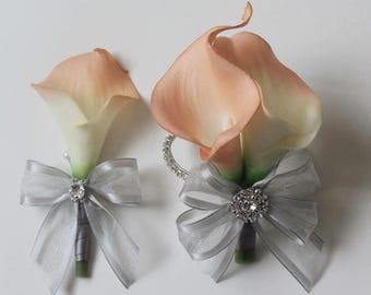 Wrist Corsage Calla Lily Corsage Boutonniere Blush  Bridal Accessories  Weddings Blush  Calla Lilies Corsage Wedding Corsage Bridal Corsage