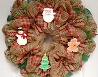 Christmas Cookies Handmade Deco Mesh Holiday Wreath